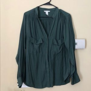 Button up blouse green